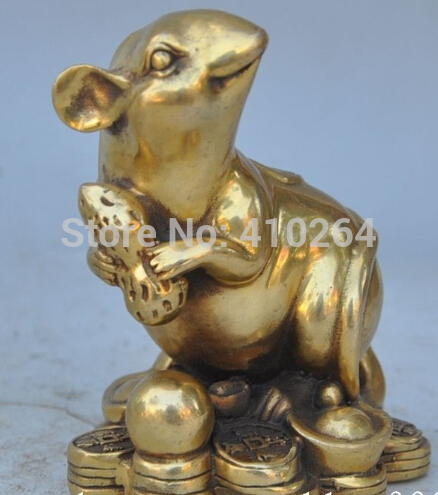$AA $ Chinese Folk Bronze Copper Fengshui Wealth Yuanbao Zodiac Mouse Rat Lucky Statue
