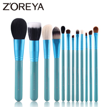 Zoreya marca 12 Pcs Set di pennelli per trucco morbido per capelli di capra naturale Kit di pennelli per trucco professionale strumenti per animali in fibra di lana allingrosso