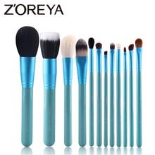 Zoreya pincel de maquillaje suave de pelo de cabra Natural, Kit profesional de brochas de maquillaje, herramientas de fibra de lana de animales, 12 Uds.