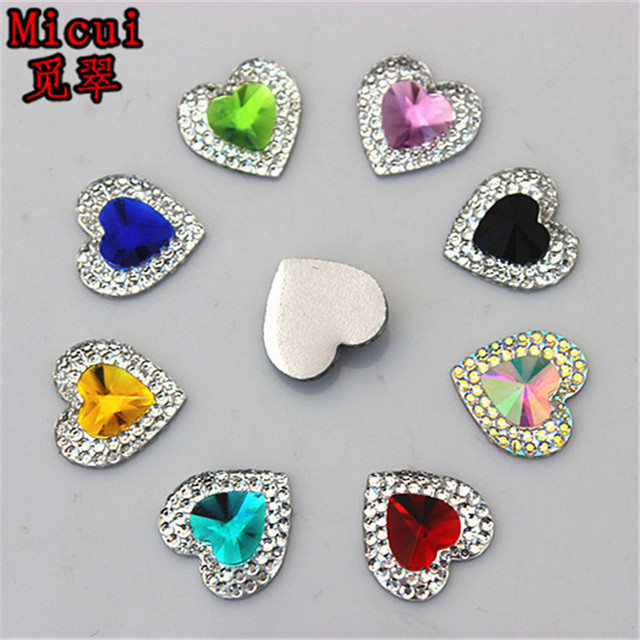 Micui 100pcs 14mm Dual color Heart Resin Rhinestone Crystal Flat Back Stone  for Wedding Decoration Scrapbooking crafts ZZ648 0439d2a46455