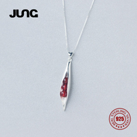 JUNG New Fashion Red Agate Wheat Trendy 925 Sterling Silver Necklace Pendant Chain Collar Jewelry Women