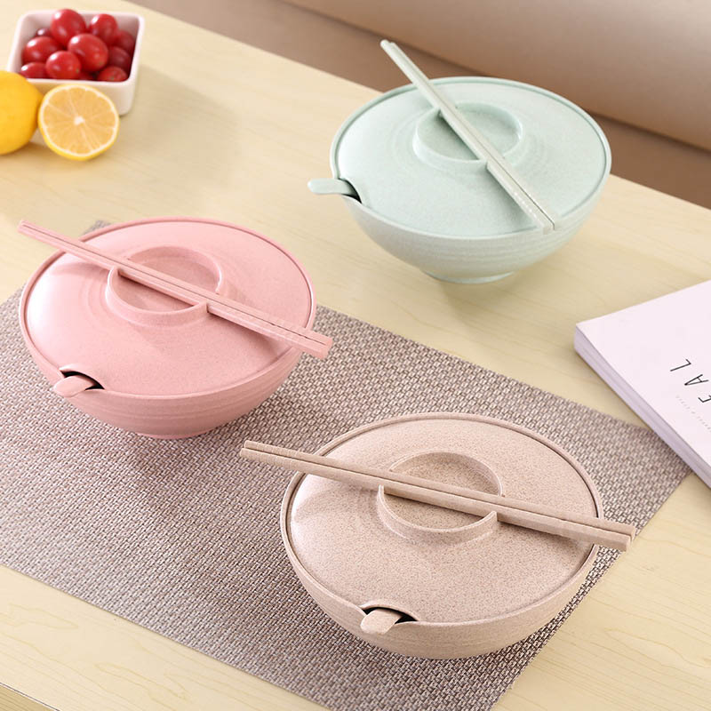 Newly Salad Instant Noodles Large Soup Bowl Wheat Straw Bowl Household Tableware with Lid Chopsticks Spoon