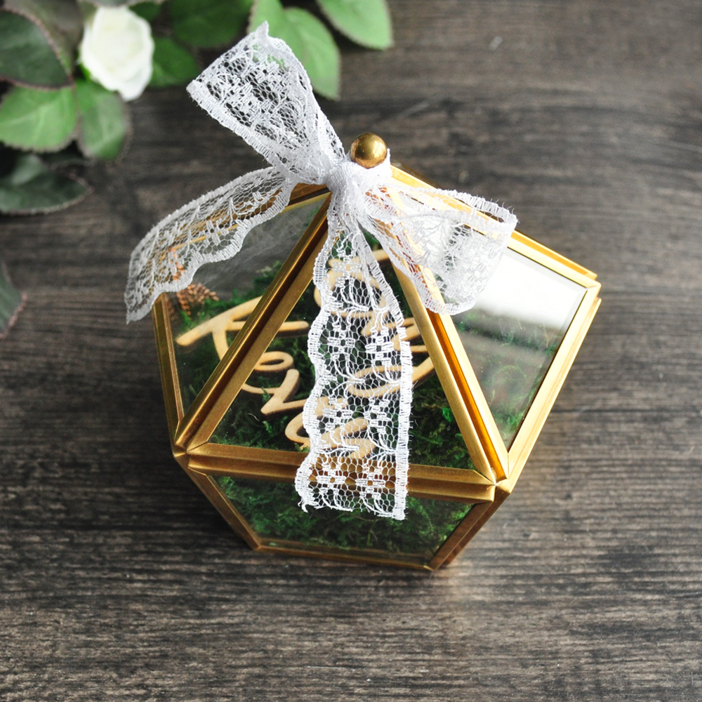 custom name wedding glass ring box glass ring pillow glass jewelry box pentagon geometric copper ring holder in jewelry packaging display from jewelry - Christmas Ornament Ring Box
