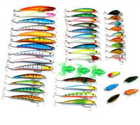Set of 45 Assorted Lures bait for New Fish Man Minnow Soft Frog Cicada Worm Baits Swimbait Crankbait Topwater Floating Sinking