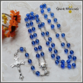 12pcs/lot Religious Gifts 6mm Blue Glass Beads Rosary Necklace Chalice Centerpiece Children's Conmmunion Baptism Favors