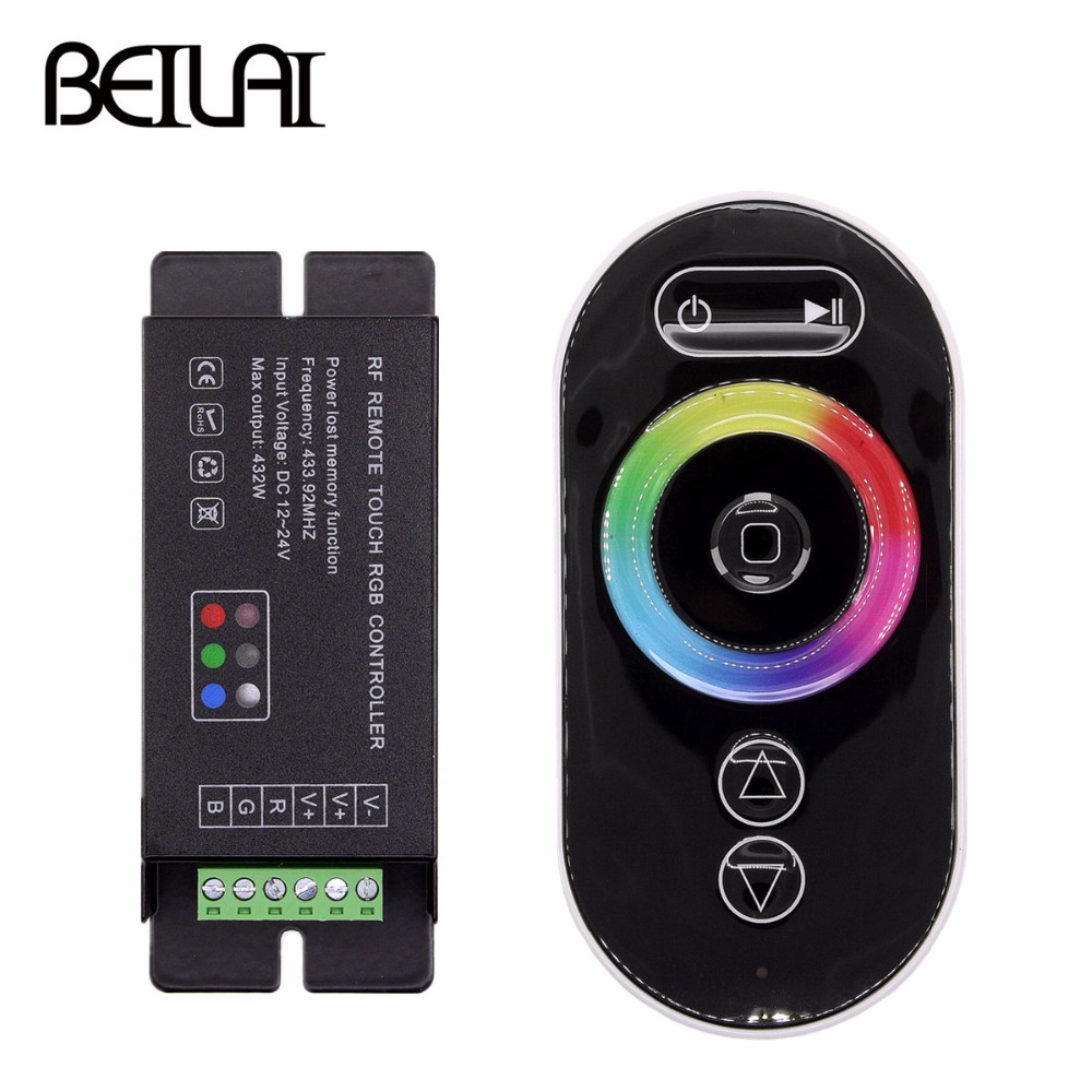 BEILAI DC 12-24V 18A Touch LED RGB Controller RF Wireless Remote Control For SMD 5050 2835 3528 RGB LED Strip Light tsleen dc 5v 12v 24v mini wifi bluetooth led rgb rgbw controller by smartphone app control for smd 5050 3528 rgb led strip light