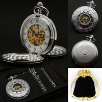 Luxury Silver Double Shielded Roman Numbers Semi Automatic Mechanical Pocket Watch Fob Watches Clock With Box