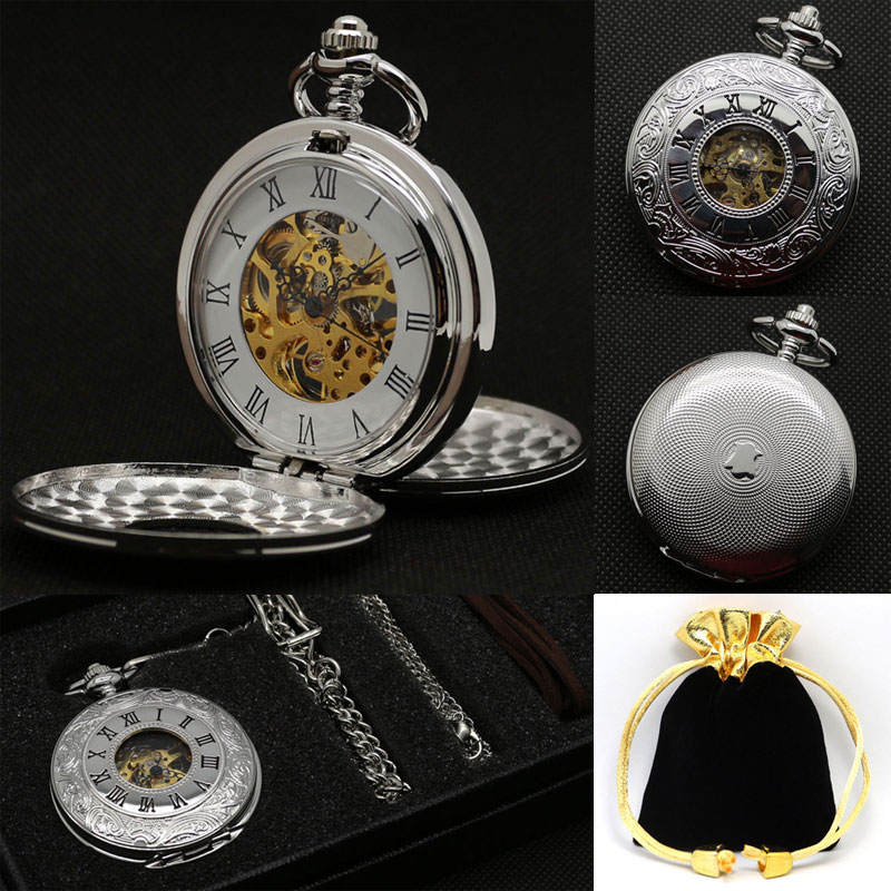 Luxury Silver Double Shielded Roman Numbers Semi Automatic Mechanical Pocket Watch Fob Watches Clock with Box Bag Best Gift Set unique smooth case pocket watch mechanical automatic watches with pendant chain necklace men women gift relogio de bolso
