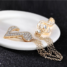 Hot Musical Note Rhinestone Brooch Pin Elegant Chain Brooch Scarf Buckle Brooches for Women Broaches