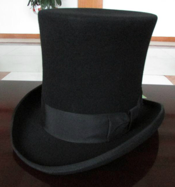 d06bafa3a41 25cm High Black Wool top hat for women and men chapeau fedora felt vintage  trational party church hats