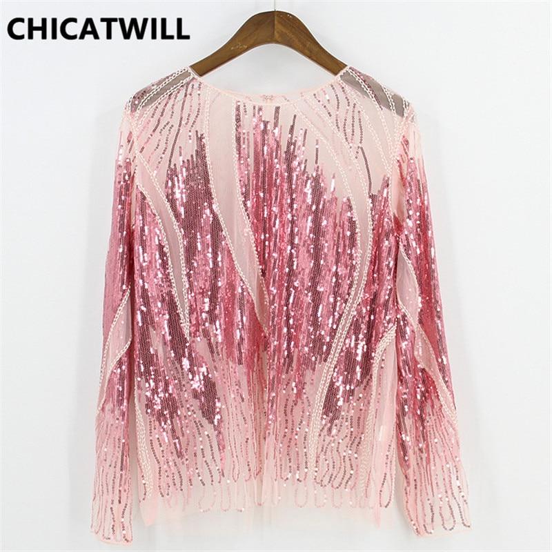 CHICATWILL femmes Costume Bling Bling paillettes découpe dentelle blouses haut sexy dames Blusas