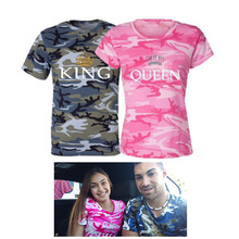 KING QUEEN Printed Camouflage Female T Shirt Couple T Shirt for Lovers Men T Shirt Women Tops Couple Clothes 2018 Summer Tops