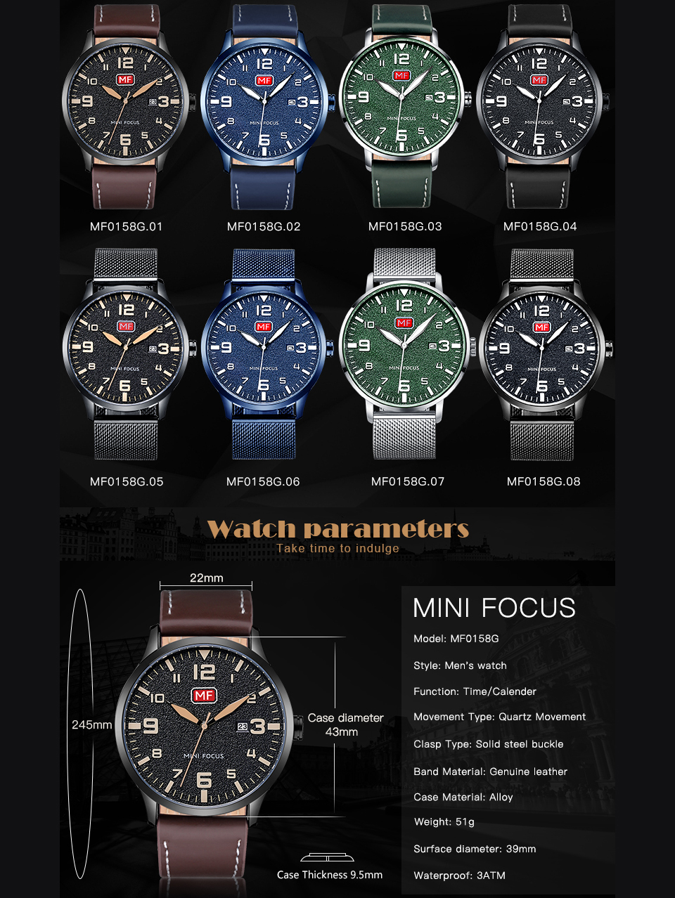 MINI FOCUS Sport Casual Quartz Watch Men Brown Leather Strap Arabic Number Calendar Waterproof Mens Watches Top Brand Luxury in Quartz Watches from Watches
