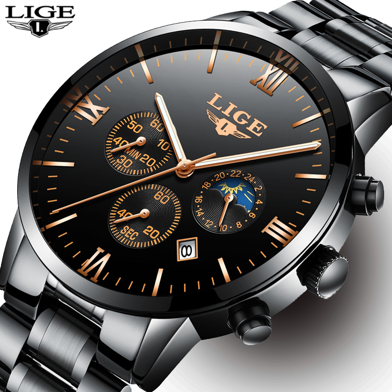 Mens Watches Top Brand Luxury LIGE Moon Phase full steel Watch Man Business Fashion Quartz sports men Watches Relogio masculino