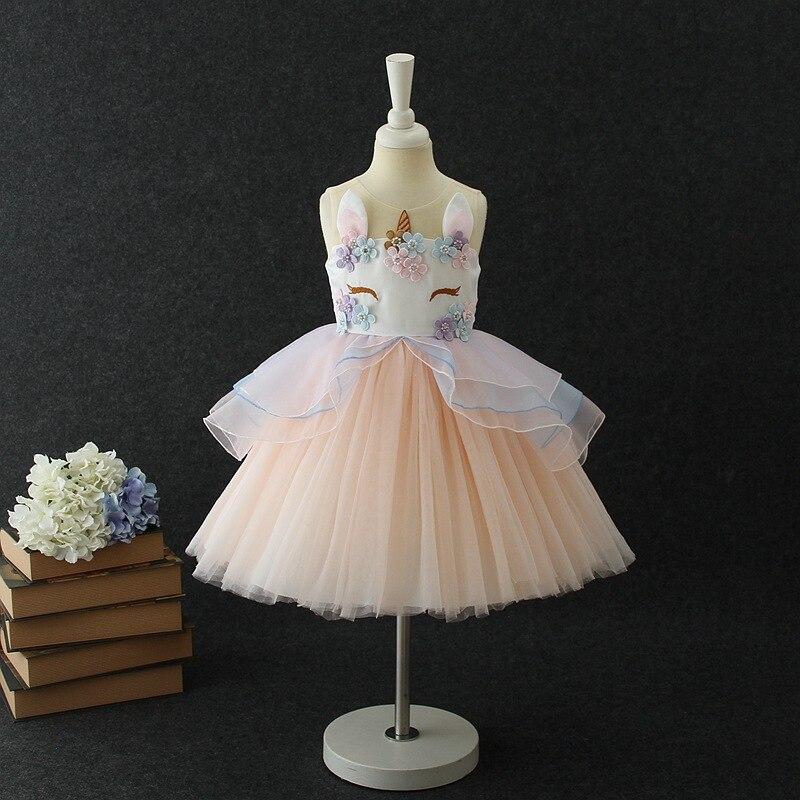 Lovely Kids Dress Unicorn dla dziewczynek Haft Flower Ball suknia - Ubrania dziecięce - Zdjęcie 3