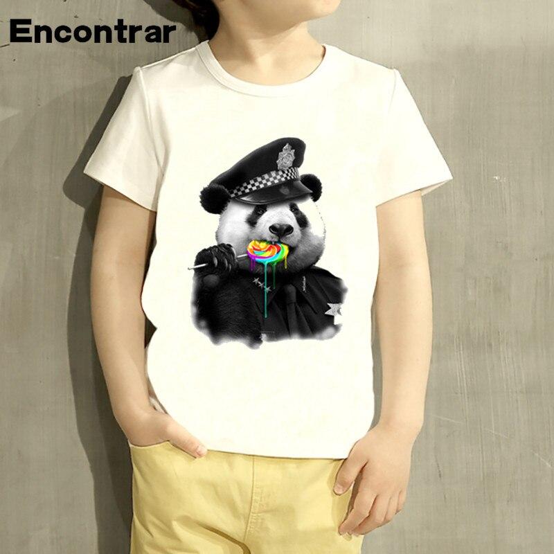Night Lights Kids Donut Police Panda Printed Cartoon Design T Shirt Boys/girls Casual Short Sleeve Tops Children Cute T-shirt,hkp2103 Highly Polished
