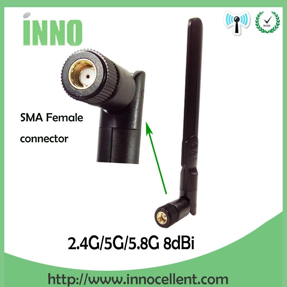 imágenes para Envío gratis 5 UNIDS 2.4 GHz 5.8 Ghz Dual Band wifi Antena Omni-Direccional 8dBi WIFI antena SMA hembra router inalámbrico