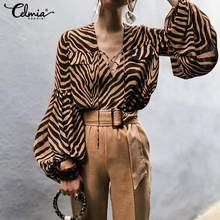 Plus Size Women Lace Up Hollow Out Tops and Blouse Casual Sexy V-Neck Long Lantern Sleeve Shirts Plus Size Zebra Print Vestidos