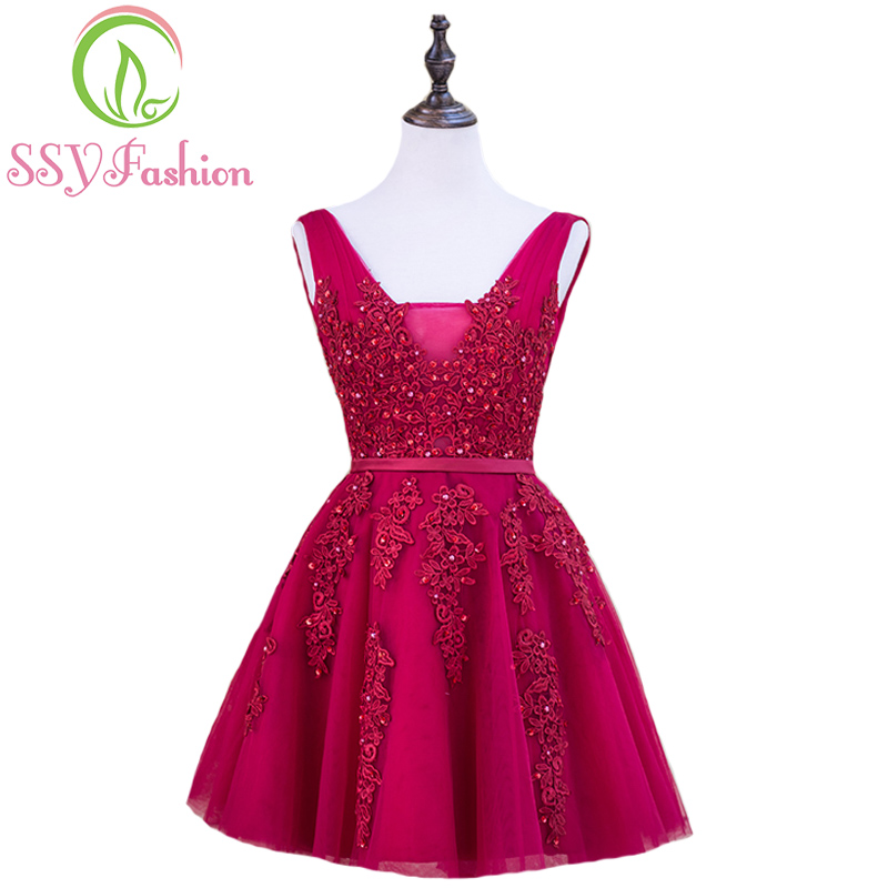 SSYFashion Sexy Short Cocktail Dresses Bridal Banquet Wine Red Lace Backless Party Formal Dress Homecoming Dress