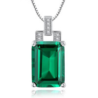 High Quality Emerald Necklace Jewelry Pendant Necklace Vintage Silver 925 Sterling Box Chain Jewelry Accessories Best Friend