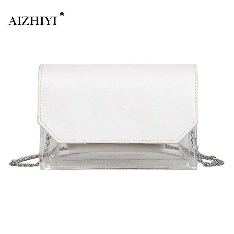 Women Transparent Small Sling Handbags Clutch Satchel Chain Beach Crossbody Messenger Bags Female Lady Shoulder Bags Tote glitter sequins women pu chain handbags messenger crossbody bags party shoulder sling bags fashion girls shinning clutch bags