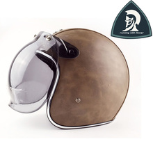 Classic Handmade Leather Motorcycle Open Face Helmets With Clear Bubble Len Brown Leather Vintage 3/4 Helmets China XXL DOT/ECE