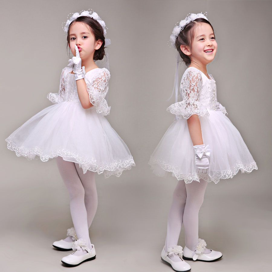 tutu princess dress new flower girl dresses half sleeve petal lace ball gown girls pageant dress for wedding party perform цены онлайн