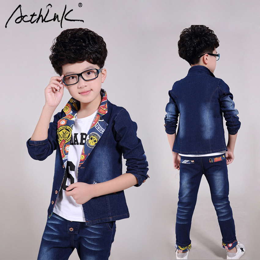 ActhInK New Teenage Boys Street Hip hop Denim Suit Brand European Style Joker Pattern Jeans Clothing Set Kids 2PCS Spring Suit 2017 new boys clothing set camouflage 3 9t boy sports suits kids clothes suit cotton boys tracksuit teenage costume long sleeve