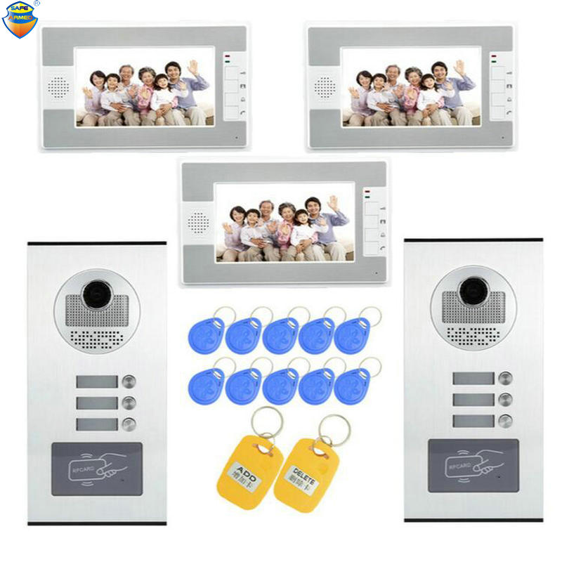 (1 Set) Home Use 2 Camera To 3 Display Video Doorphone RFID Card Unlock Function Access Control Intercom System 700TVL Talkback