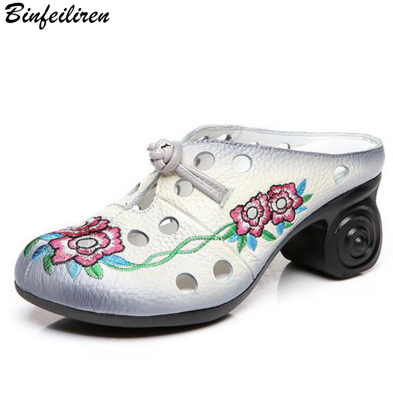 Binfeiliren 2018 Summer Women Slippers Embroidery Leather Women Sandals Hollow Out 6 CM High Heels Retro Handmade Flower Shoes mnixuan women slippers sandals summer