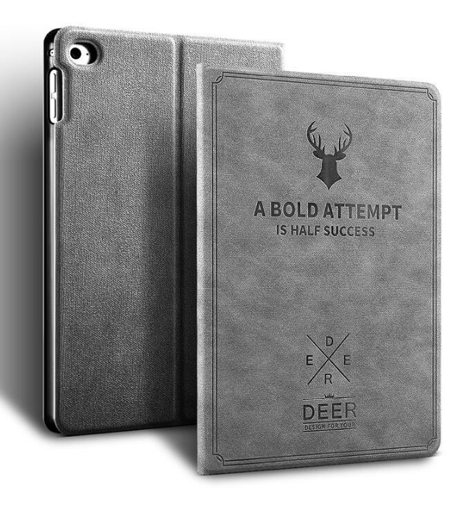 Deer Retro Pattern Smart Sleep / Wake Up Flip Case 3D Relief Cover Leather Stand Shell For Ipad Pro 10.5 2017 Release