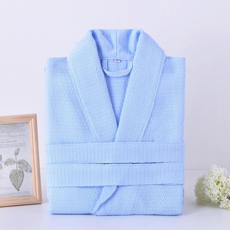 Cotton Waffle Bathrobe Men Hooded Kimono Men's Robe Summer Long Male Bath Robe String Bathrobes Couple Loose Home Bathrobe White