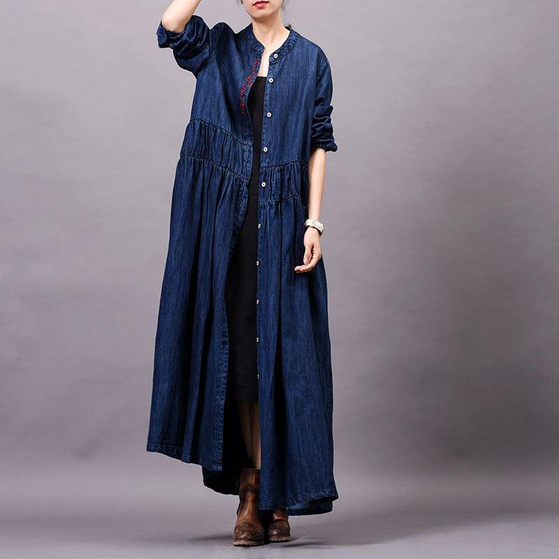 Autumn Winter 2019 New Original Large Size Women's Embroidery Women Coats Literary Cowboy Denim   Trench   Coat Split Loose Long