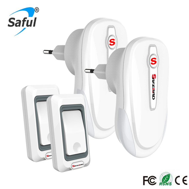 Saful Waterproof Wireless doorbell White remote control doorbell 2 Outdoor transmitter+2 Indoor receiver with EU/UK/US/AU plug цена