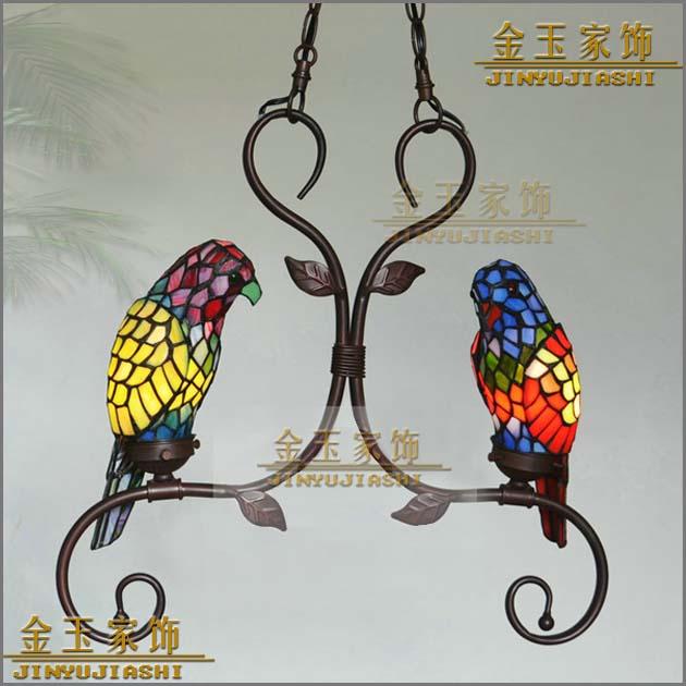 ⓪Tiffany creativa amarillo pájaro loro colgante luz niño dormitorio ...
