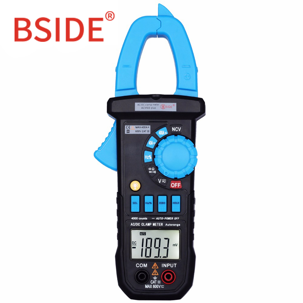BSIDE multímetro Digital 400A AC/DC corriente pinza medidor ACM03 PLUS de la capacitancia de frecuencia de inducción de alarma