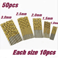 50 Pcs Titanium Coated HSS High Speed Steel Drill Bit Set Tool 1/1.5/2/2.5/3mm