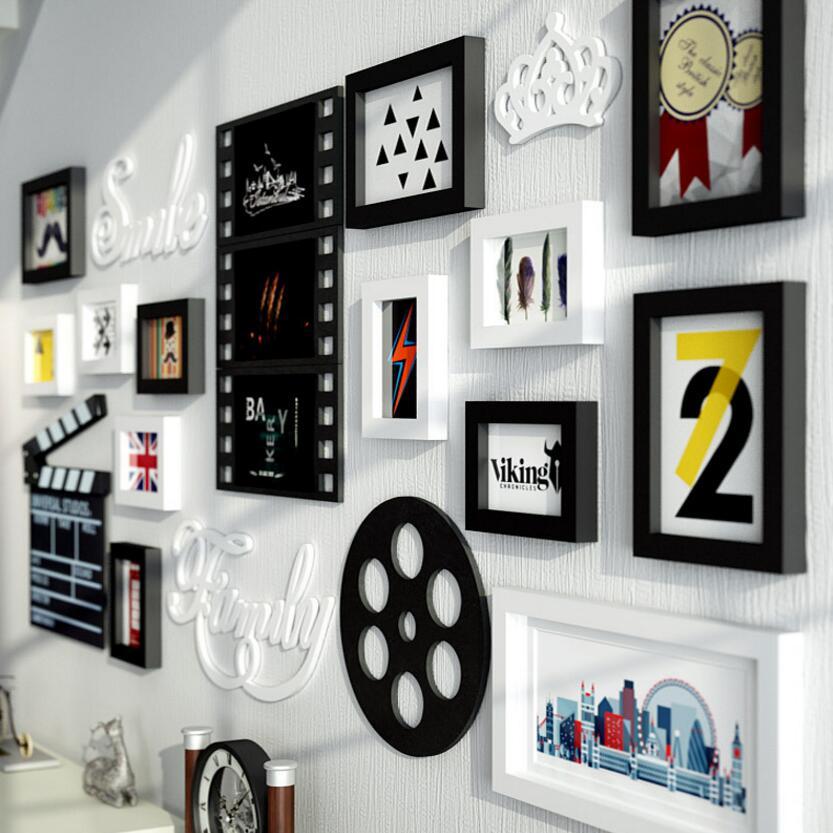 SUFEILEMulti rama nowoczesny styl ramki do zdjęć kina domowego dekoracji prostokąt zdjęcie ramka do obrazu zamontowane drewniane ramka do obrazu zestaw w Rama od Dom i ogród na  Grupa 2