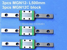 Kossel Miniature MGN12 12mm linear slide :3pcs L-500mm rail+3pcs MGN12C carriage for X Y Z Axies 3d printer parts cnc
