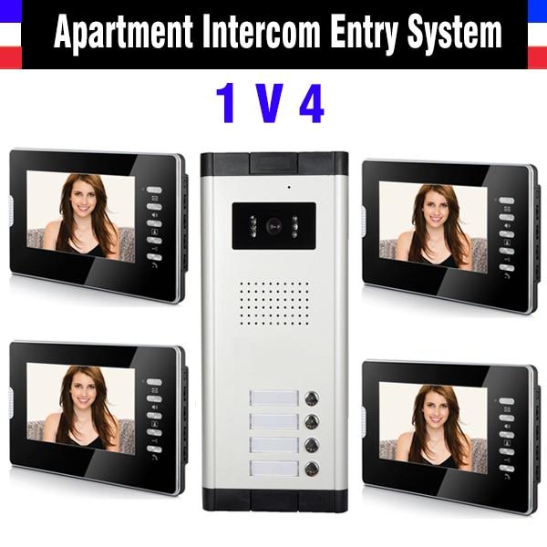 Apartment Intercom System 7 Inch Monitor 1V4 Units Video Intercom Doorbell Door Phone IR Camera Speakerphone intercom Kit
