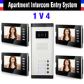 Apartment Intercom System 7 Inch Monitor 1V4 Units Video Intercom Doorbell Door Phone IR Camera Speakerphone intercom Kit