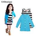 Eaboutique moda striped vest dress com céu azul de manga longa casaco 2 peça definir ternos de inverno para as meninas 2-8 yeas velho