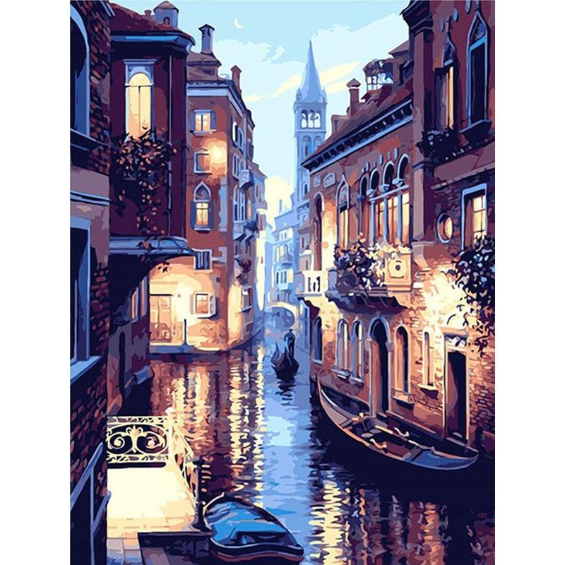 Malerei Durch Zahlen DIY Venedig nacht ansicht Landschaft Bild Zeichnung Home Dekoration Wohnzimmer Einzigartige Geschenke Decor Kunst 40x50 cm