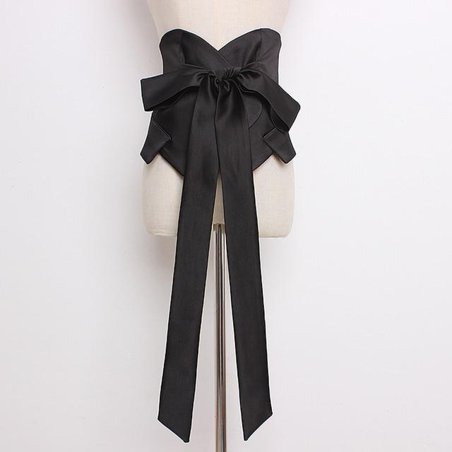 [EAM] 2020 년 봄 여름 블랙 Bangahe Bow 불규칙한 기질 성격 긴 와이드 벨트 여성 패션 All match JR927