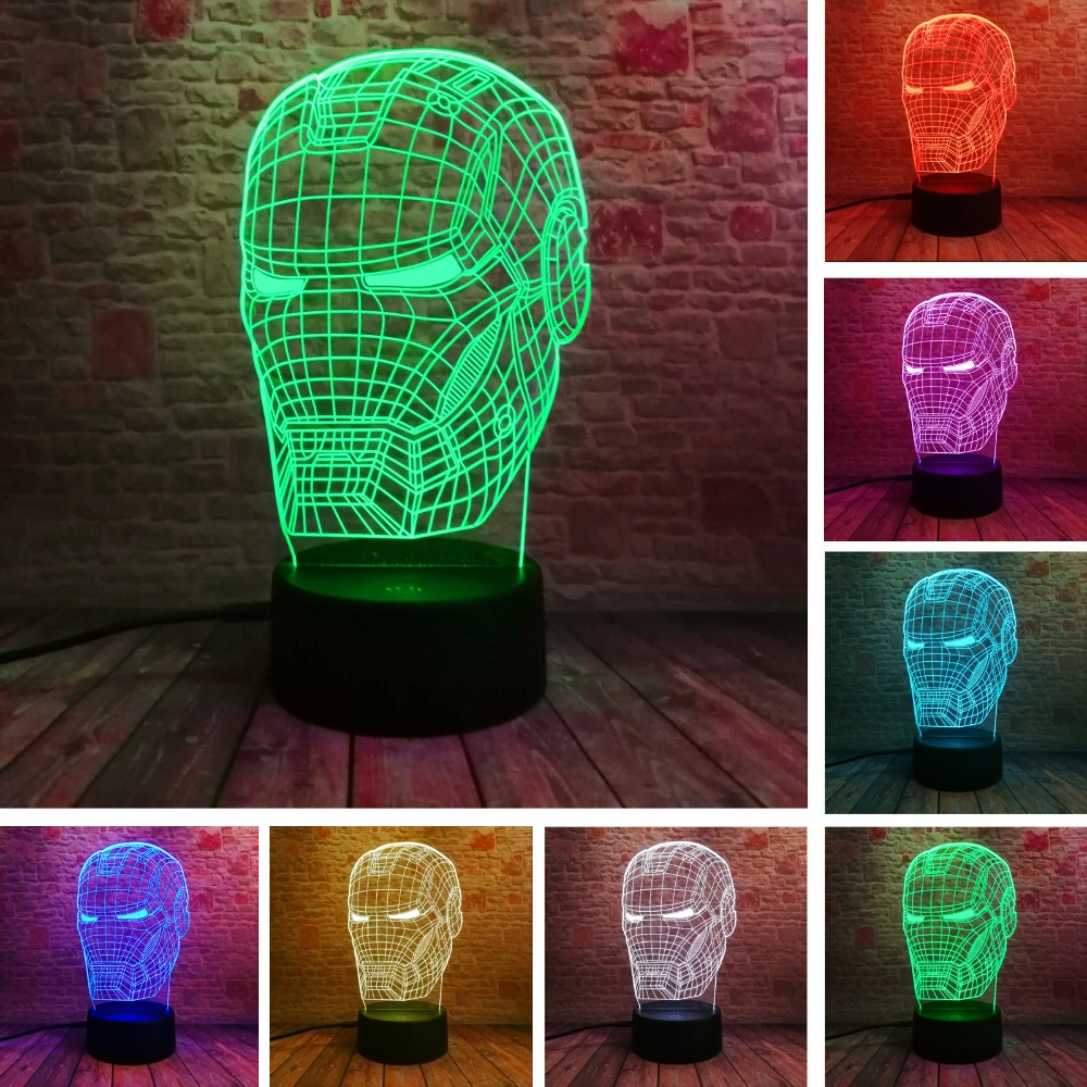 New Marvel Avengers Lamp 3D Art Iron Man Mask Night Light Superhero illusion Mood Lampe for Kids Friends Dad Creative Toy Gift free shipping 1piece new arrive marvel anti hero deadpool figure light handmade 3d bulbing illusion lamp led mood light for kid