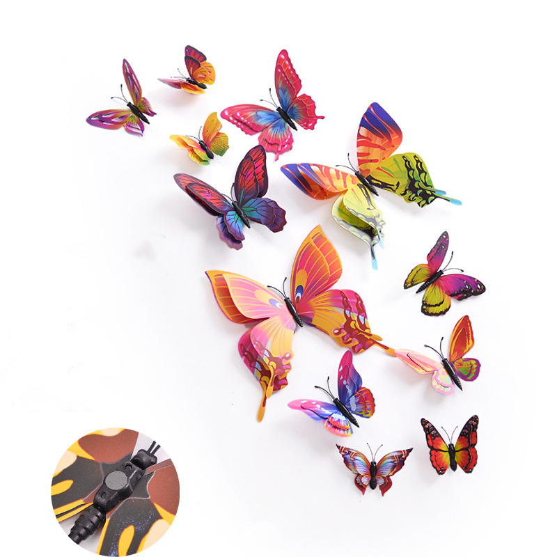 12pcs Double Wing 3D Magnet Wall Sticker Stickers Butterfly Home Decor DIY Room