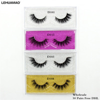 LEHUAMAO 50 pairs Mink Eyelashes 3D makeup false Eyelashes Handmade Mink Dramatic Lashes 13styles cruelty free reusable