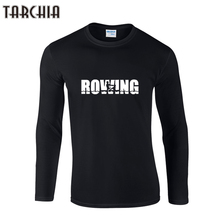 TARCHIIA 2017 Brand fashion tops tee fitness Long Sleeve rowing Men o-neck T-Shirt 100% Cotton Plus Size t shirt Funny Homme