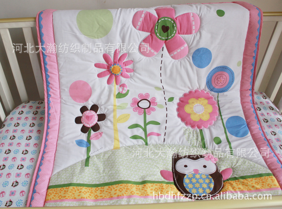 100% cotton baby quilt play mat nursery bedding applique embroidery