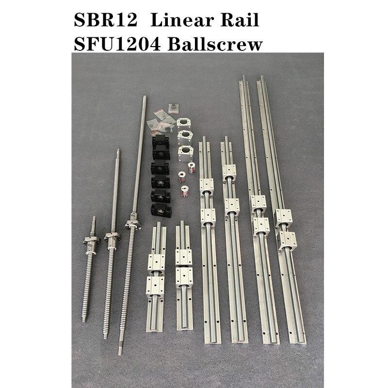 6 jeu de rails de guidage linéaires SBR12-200/350/450mm + 3 jeux de vis à billes SFU1204-250/350/450mm + 3 jeux de pièces de CNC BK/BF10